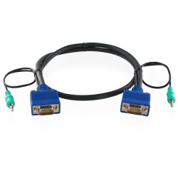 3.5mmステレオミニプラグ付全結線VGAケーブル(オス・オス)